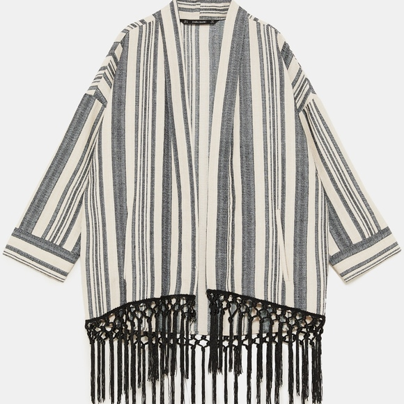3fd79c78 Zara Jackets & Coats | Striped Fringe Kimono | Poshmark